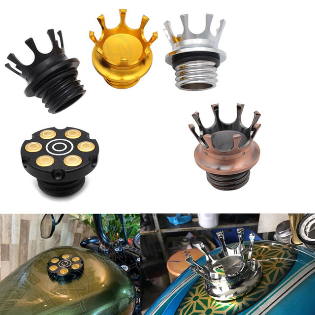 Motorcycle Gold/Silver/Black Aluminum Flush Right hand Thread Reservoir King Crown Style Gas Fuel Tank Cap Vented For Harley