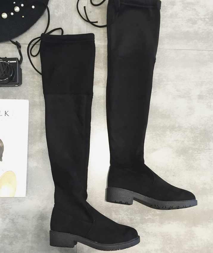 2019 חדש סתיו חורף חדש הברך מגפי נשים של slim גבוהה אורך מגפי ארוך מגפיים שטוח מגפי חם מגפי רכיבה מגפי FD10