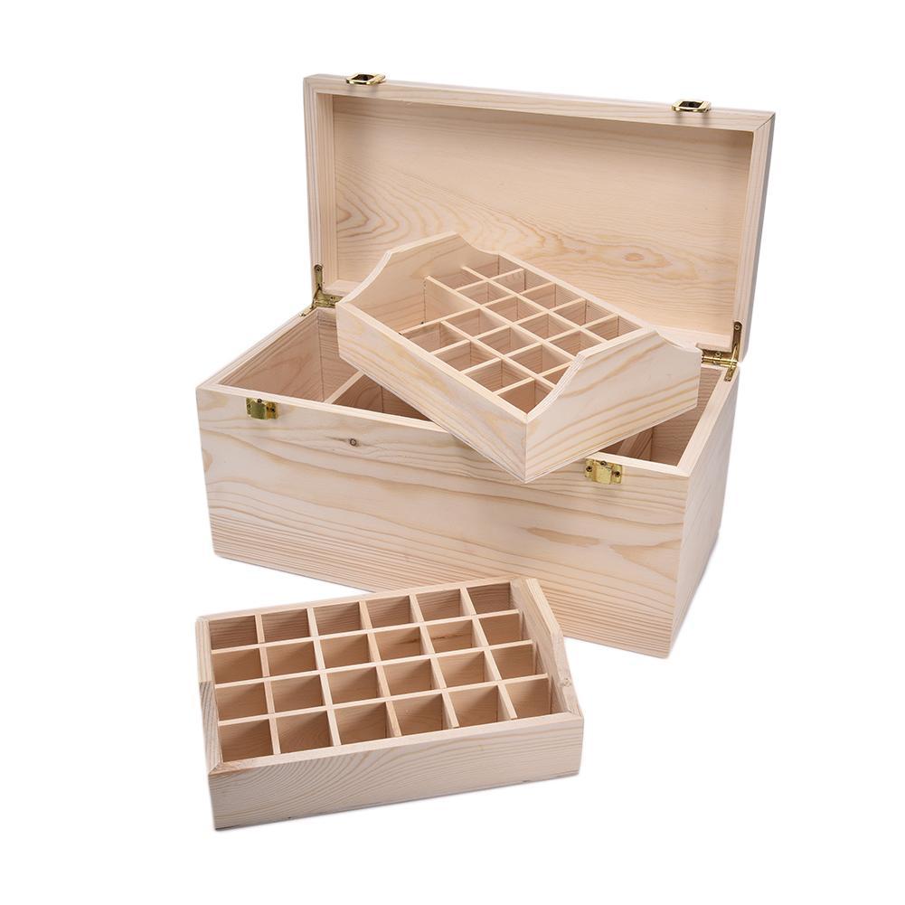 Boîte de rangement en bois 44 fentes boîte d'huile essentielle 2 couches en bois massif boîte d'emballage d'huile essentielle mallette de rangement support organisateur