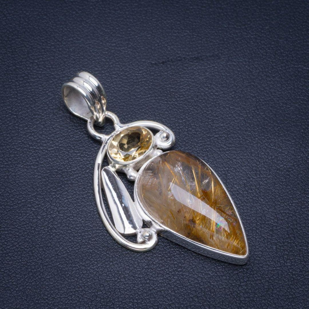 Natural Jasper River Pearl and Citrine Handmade Unique 925 Sterling Silver Pendant 2.25 X0013