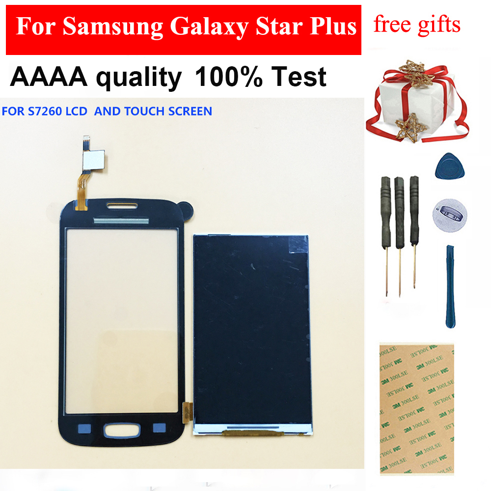 For Samsung Galaxy Star Plus GT S7260 S7262 Duos Black / White Touch Screen Digitizer Panel Glass + LCD Display Monitor