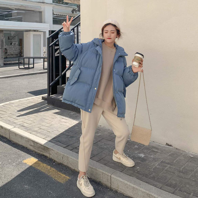 New 2020 Women Short Jacket Winter Thick Hooded Cotton Padded Coats Female Korean Loose Puffer Parkas Ladies Oversize Outwear 3