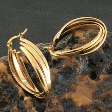 Bijoux En Acier Inoxydable pour Femme, créoles simples, couleur or, à la mode, personnalité, nouveauté