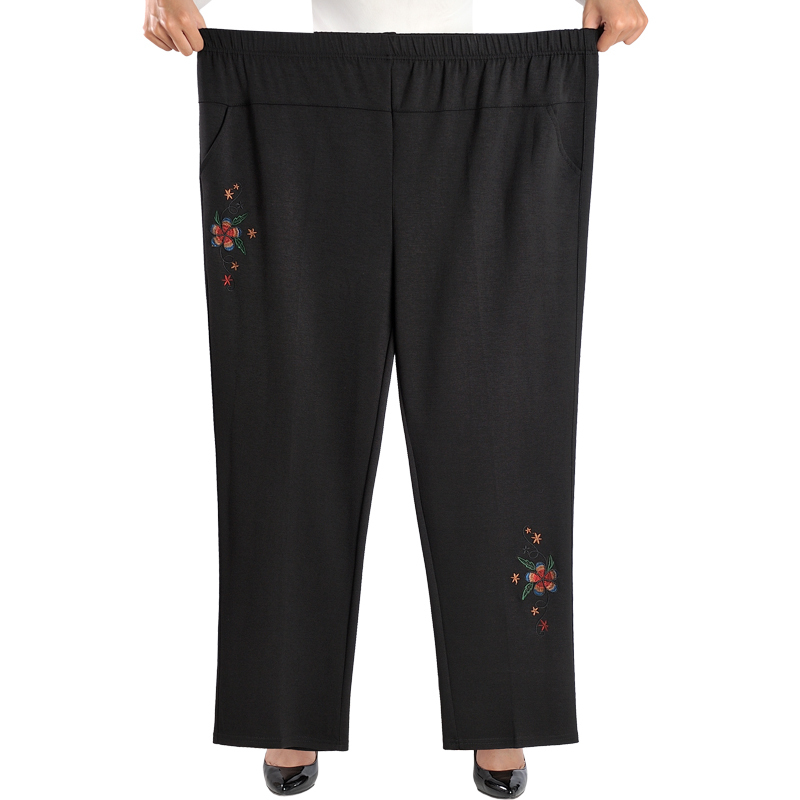 Large Size 8XL Women Straight Pants Fashion Casual Elastic Waist Loose Pants Female Spring Summer Embroidery Trousers
