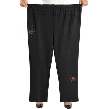 Large Size 8XL Women Straight Pants Fashion Casual Elastic Waist Loose Pants Female Spring Summer Embroidery Trousers Pants & Capris