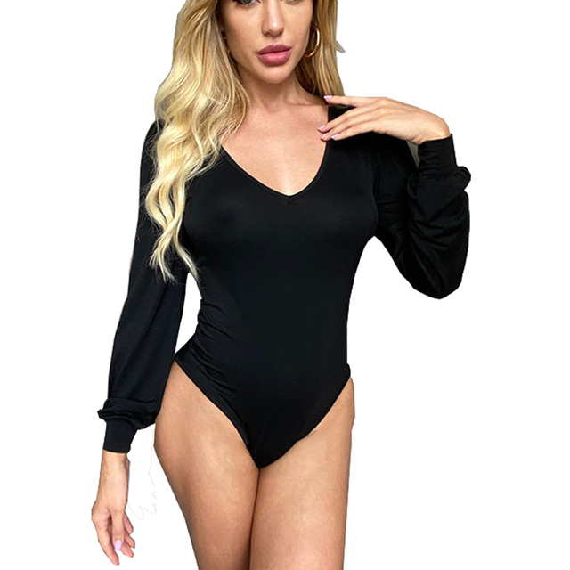 Modal Puff Sleeve Sexy Jumpsuit Skinny Bodysuit Women Winter Spring V-neck Black Casual Body Top Jumpsuit Casual Lady Streetwear 1
