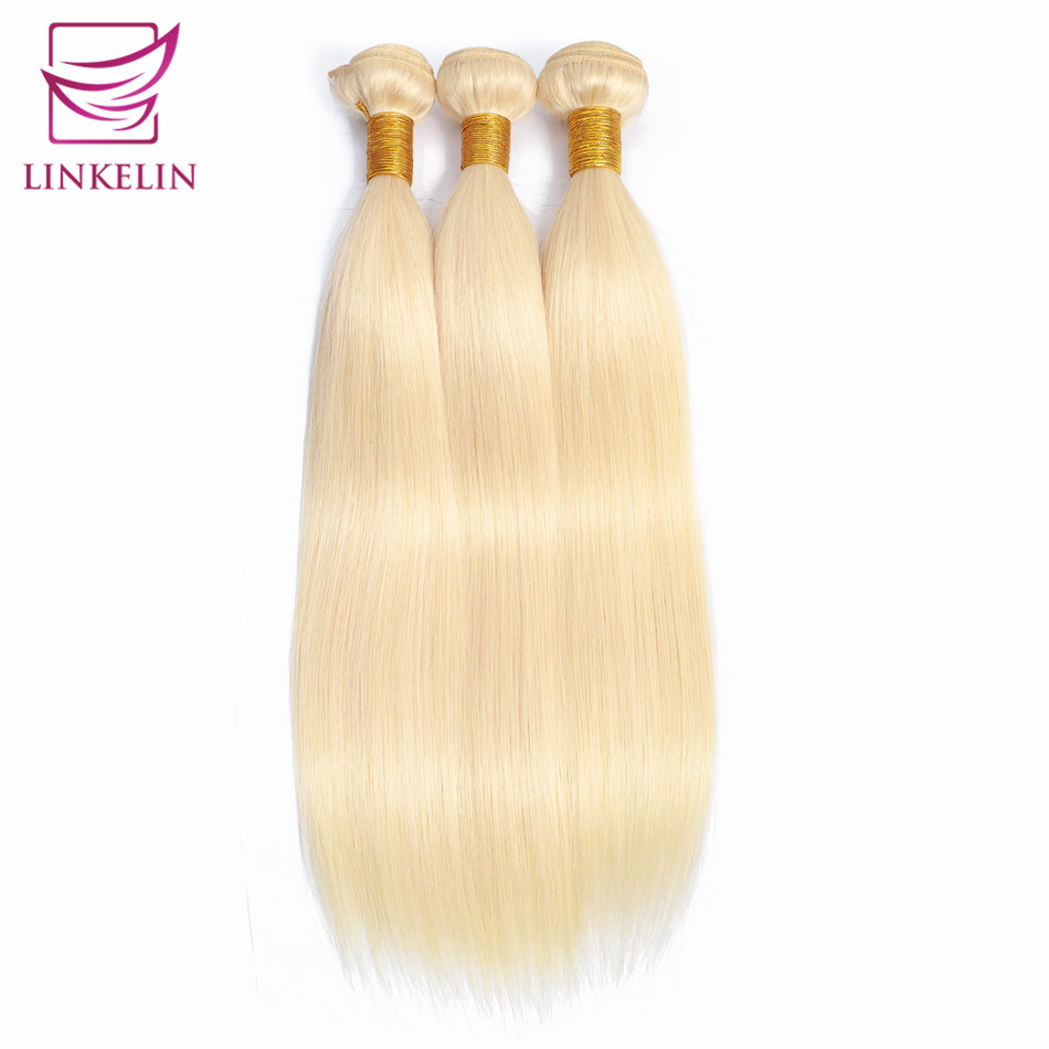 LINKELIN HAIR Straight 613 Blonde Hair Malaysian 100% Human Hair Bundles Remy Hair Extension Machine Double Weft Hair Weaving image