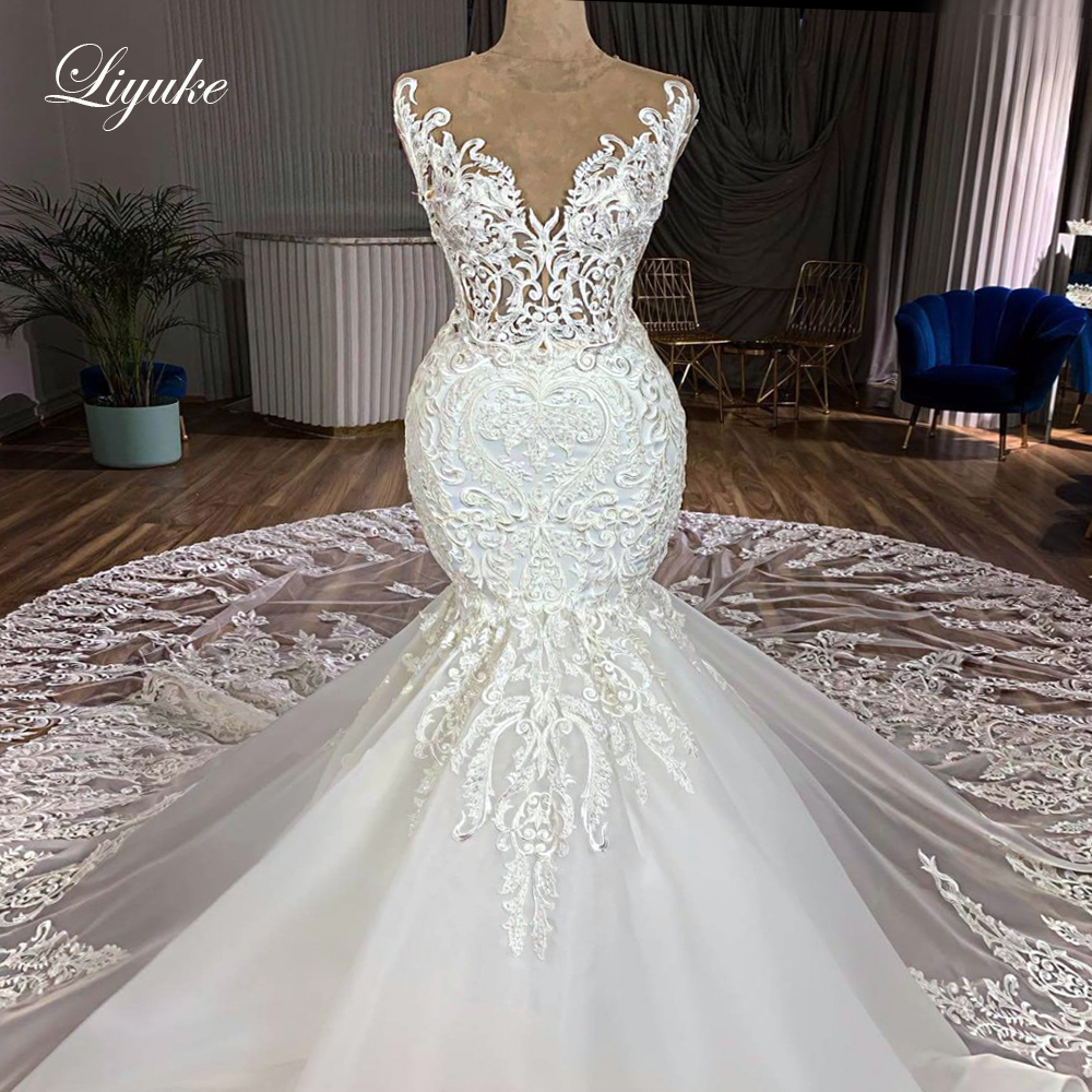 Liyuke Skin Nude Tulle Of 2020 Mermaid Wedding Dress With Gorgeous Lace Skirt Royal Train Bride Dress