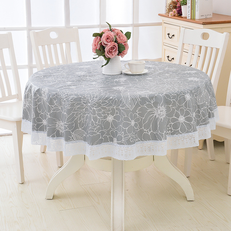 Home Textile Flower Style Round Table Cloth Pastoral PVC Plastic Kitchen Tablecloth Oilproof Waterproof Fabric Table Cover