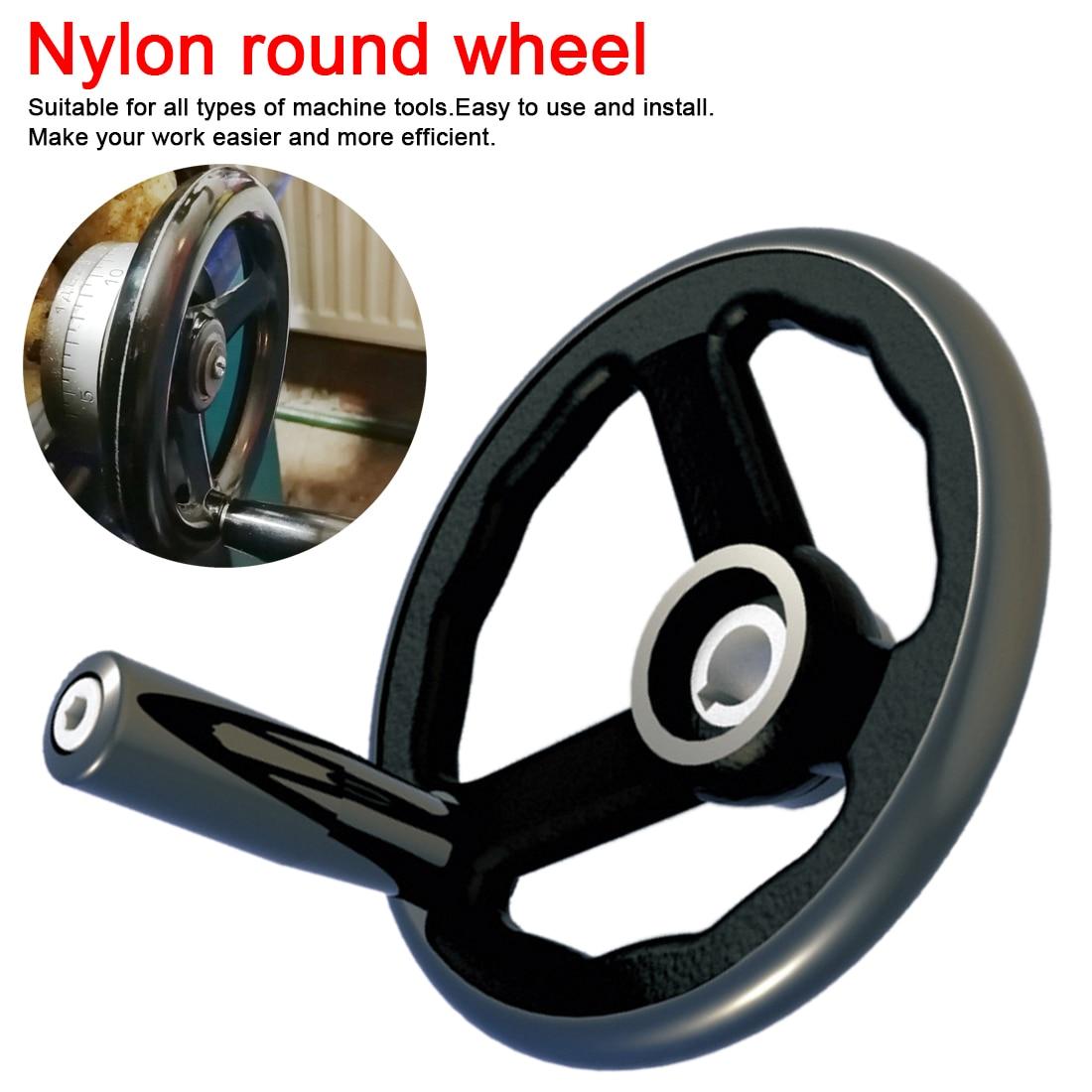 Black Milling Machine Lathe CNC 3D Printer Spoked Hand Wheel Wavy Round Bakelite Three Handwheel 100/125/160/200/250mm