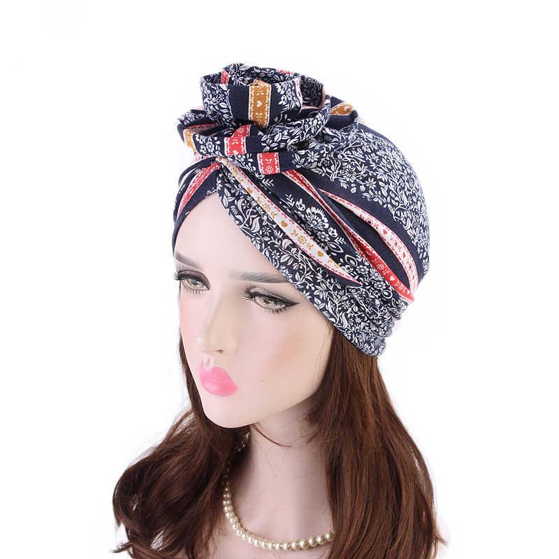 โบฮีเมียผ้าฝ้าย Turban หมวกชาติพันธุ์ดอกไม้ผ้าพันคอผู้หญิง Boho HEAD Wrap Hippie ฤดูหนาวเคมีบำบัดหมวก