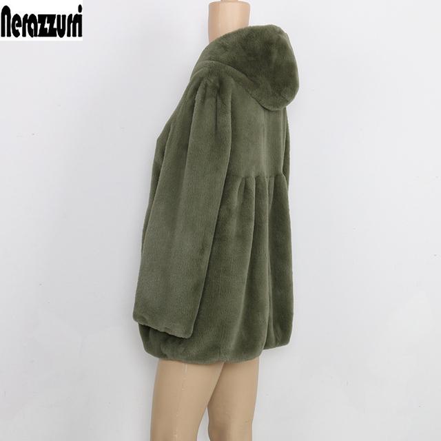 Nerazzurri Faux Fur Coat With Hood High Waist Fashion Slim Black Red Pink Faux Fur Jacket Fake Rabbit Fur Plus Size 4XL 5XL 6XL