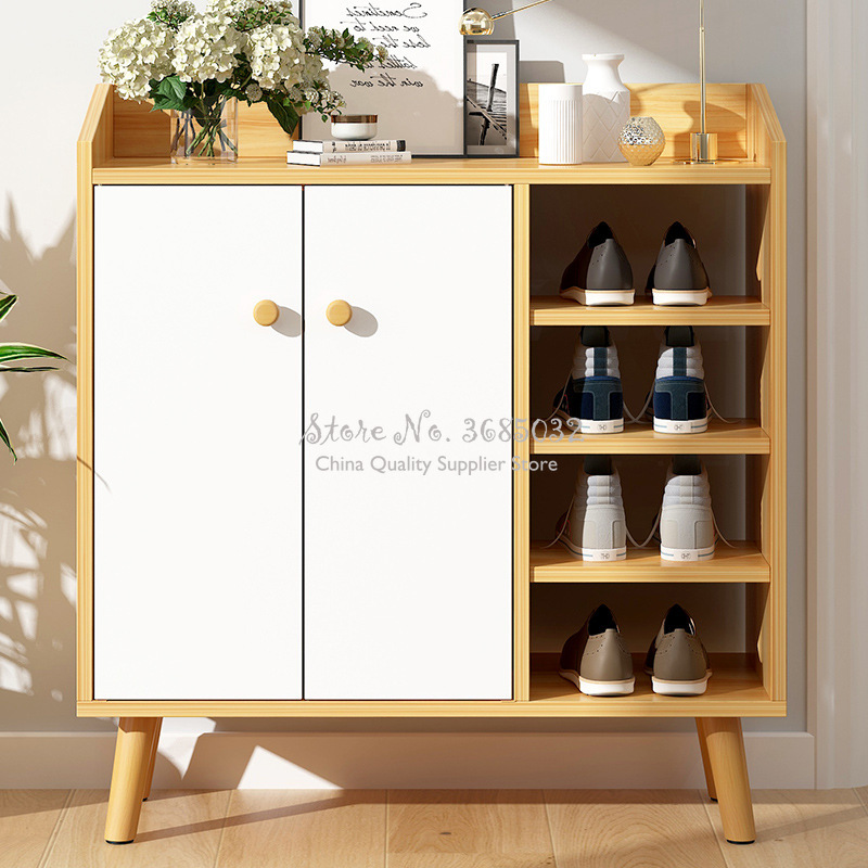 Fashion Shoe Cabinets Nordic Simple Modern Large Capacity Shoebox With Solid Wood Leg Multifunctional Locker