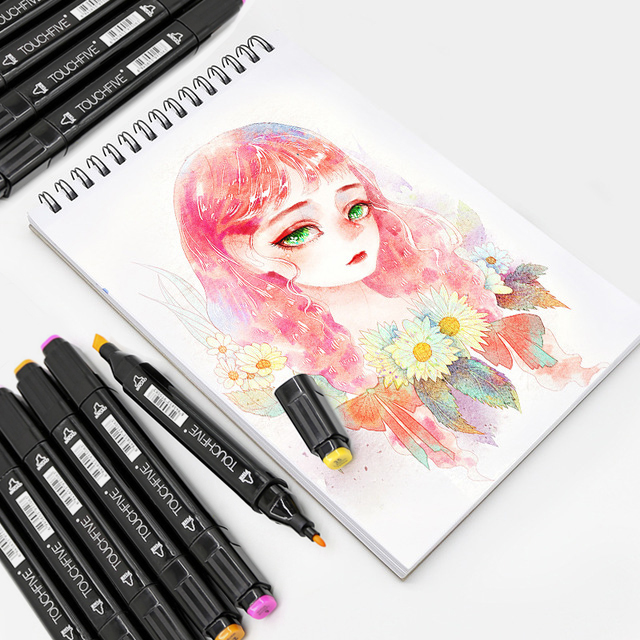 TOUCHFIVE Optional Color Matching Art Markers Brush Pen Sketch Alcohol Based Markers Dual Head Manga Drawing Pens Art Supplies