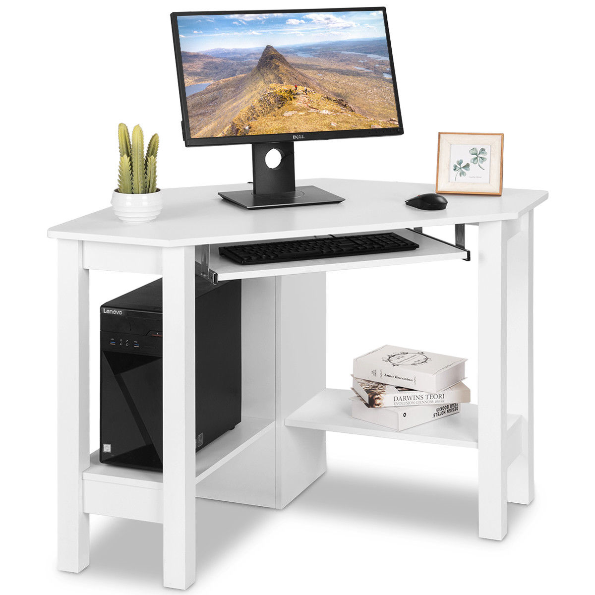 Costway Wooden Corner Desk With Drawer Computer PC Table Study Office Room White