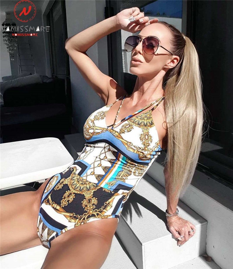 Sexy Women Bodycon Bodysuits For Beach Bath Swim Patchwork Design V-Neck Sling Sleeveless Backless Slim Hips Jumpsuits