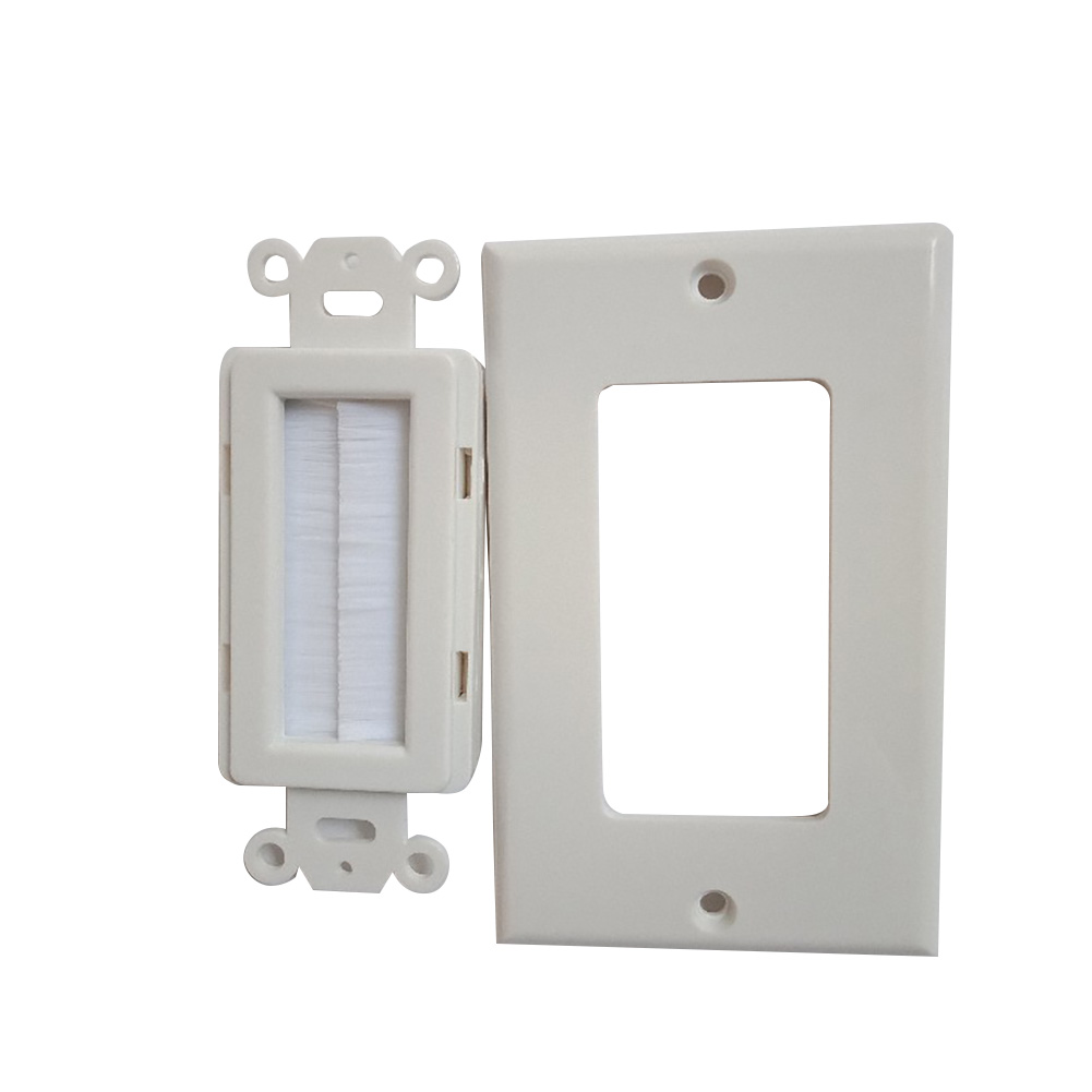 Single Gang Home White Easy Install ABS Outlet Mount Panel Wall Socket Cable Pass Through Durable Brush Plate Anti Dust