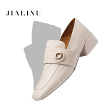 Square Toe Loafers Women Shoes 2019 New Low Thick Heels soft Insole Ge