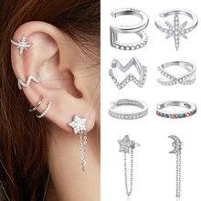bamoer 1PC 925 sterling silver clipr girls Earrings for Women CZ ear stud Circle Earrings women Wedding party Jewelry SCE577