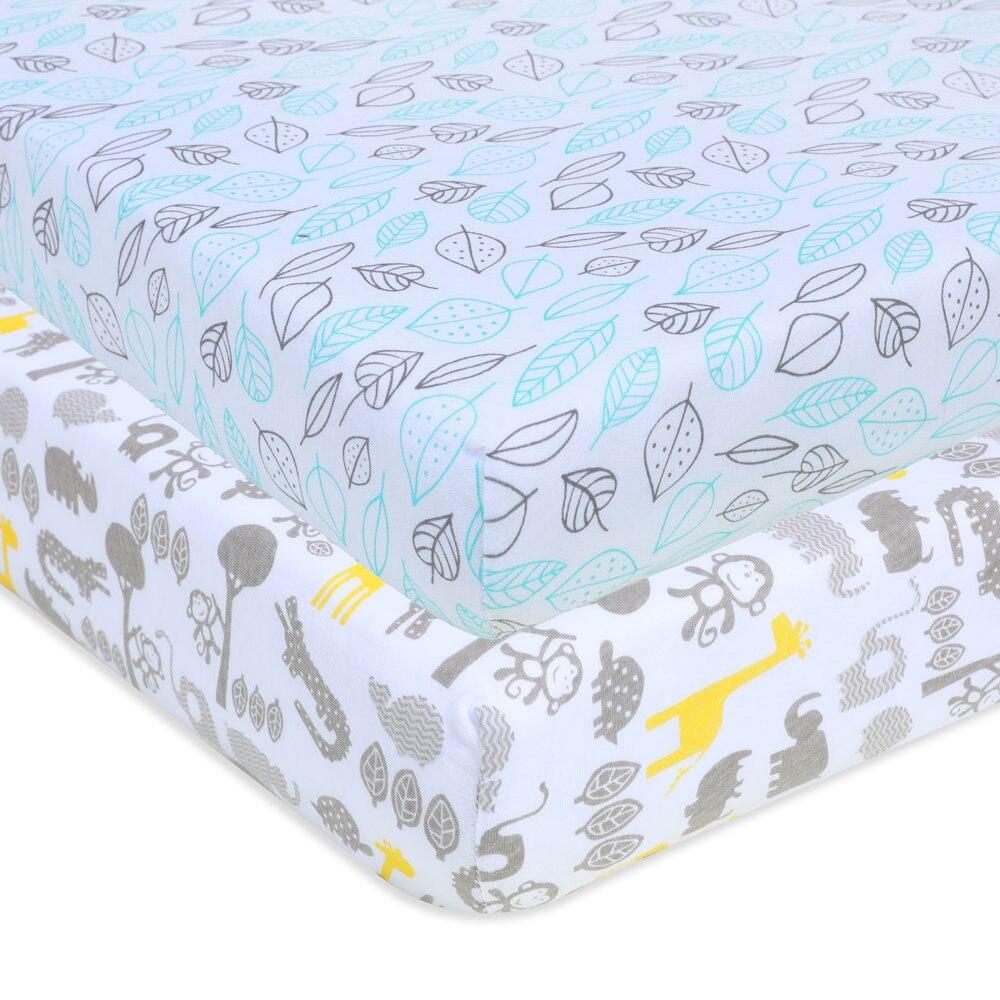 Crib Sheet Set 100% Jersey Cotton | 2-Pack | Fitted Cotton Baby Universal Crib Sheets For Boys & Girls | Mattress Bedding Set