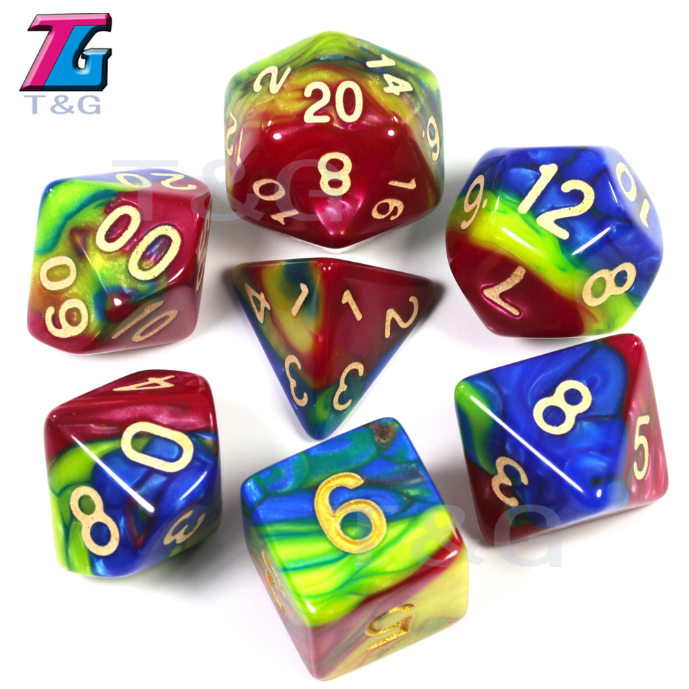 Colourful Imitation Liquid Oil Painting Dice Set 7Pcs/Set Polyhedral D&D RPG Games  D4-D20 Multi Sides Dice For BoardGame