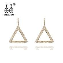 DREJEW Big Geometric Triangle Statement Earrings Gold Silver Rhinestone 925 Drop Earrings Sets for Women Wedding Jewelry HE963 цена и фото