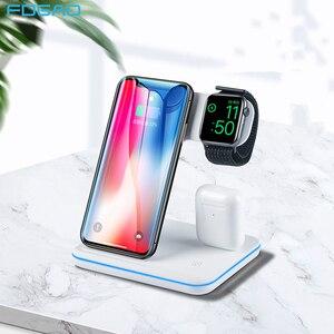 Image 1 - 3 Trong 1 Tề Bộ Sạc Không Dây Cho Iphone 11 8 X XS XR Samsung S10 S9 15W Sạc Nhanh dock Đứng Rung Pro Đồng Hồ 5 4 3
