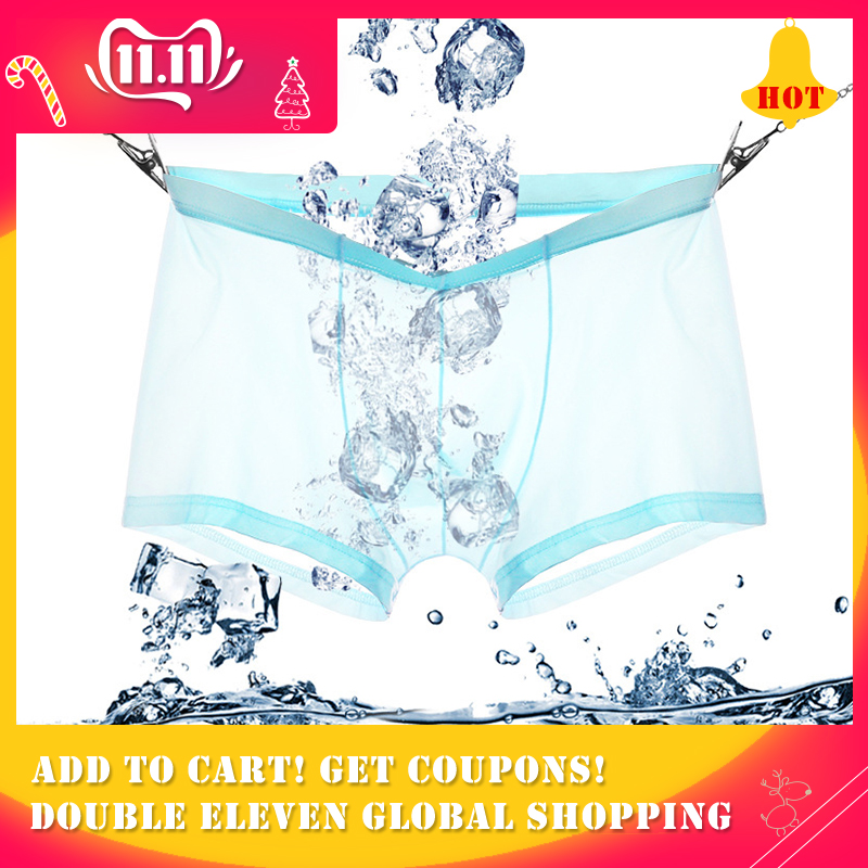 wholesale high quality Modal <font><b>Men's</b></font> Boxers Youth <font><b>Men's</b></font> Ice Silk summer dress Breathable <font><b>thin</b></font> <font><b>sexy</b></font> transparent soft Boxershorts image