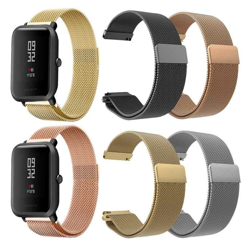 Stainless steel magnetic bracelet strap for xiaomi Huami Amazfit Bip Metal Watch Band Strap Wristband Bracelet Accessories