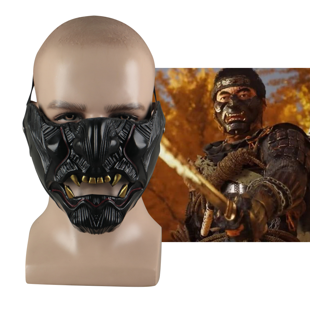 Cosplay Ghost Of Tsushima Sakai Half Face Samurai Mask Halloween Masquerade Halloween Party Latex Masks Prop