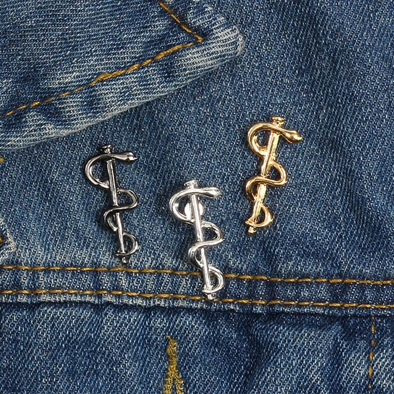 Metal Medical Pin Doctor Nurse Badges World Health Organization Snake Stick Enamel Brooch Jackets Shirt Collar Lapel Button Pins