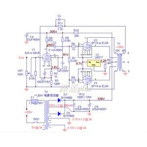 Image 2 - Lusya アンプ sch 6J4/6AU6 EL84/6P14 PCB ボードプッシュプル電力増幅器胆汁機 T1094