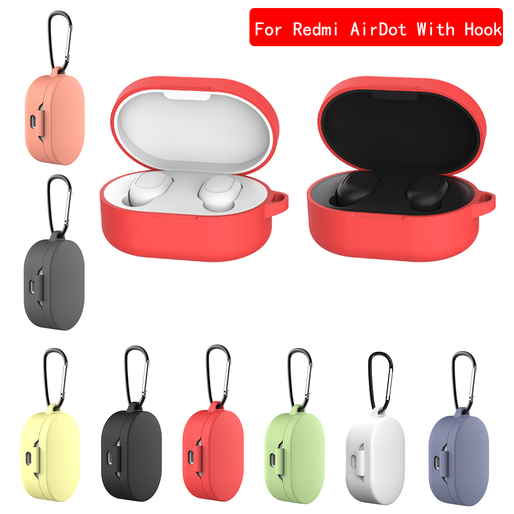 2020 NEW Silicone Case for AirDots Headphone Case for Xiaomi Bluetooth Headphone Cover Liquid Headset Case with Hook(China)