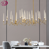 New Modern Gold Rectangle Crystal Chandelier Lighting For Dining Room Bedroom Lamps LED Light Fixtures Chandeliers Indoor Lights