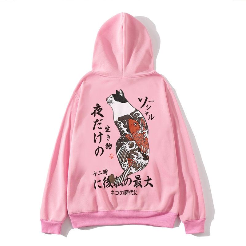 Autumn Winter Japanese Harajuku Hip Hop Original Printing Couple Streetwear Sweatshirts Women Hoodie Oversize Hoodies Men 2019