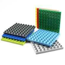 Blocos grandes placa de base 8*8 pontos 12.7*12.7 cm duplo placa sólida compatível legoes brinquedos para o miúdo diy grande bloco de construção 5 pçs/lote