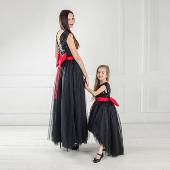 Beauty-Emily Mother Flower-Girl Dresses Tulle O Neck Sleeveless Prom Party Dress Sequins Mother Daughter Dress robe de soiree