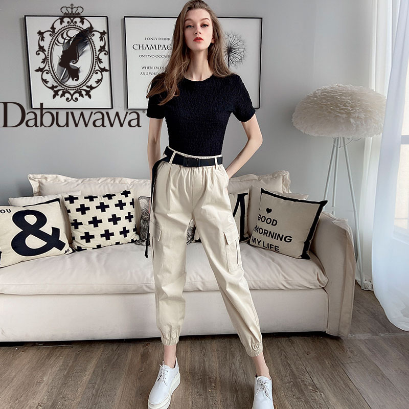 Dabuwawa Women's Cargo Pants With Belt High Waist Pocket Long Carrot Trousers Casual Pants Women DT1ANT003