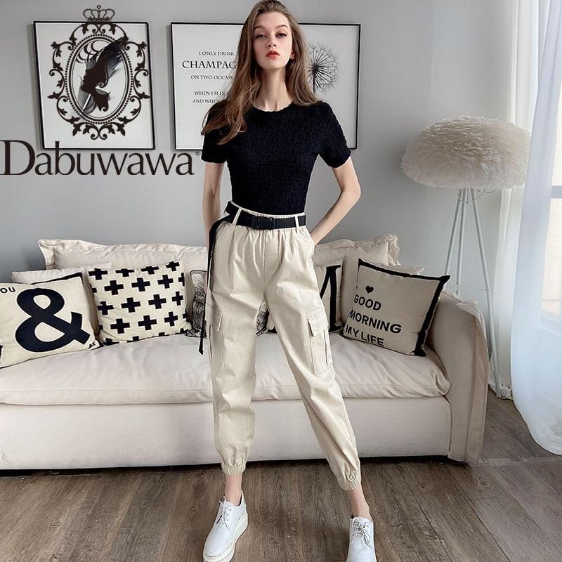 Dabuwawa Women's Cargo Pants With Belt High Waist Pocket Long Carrot Trousers Casual Pants Women DT1ANT003
