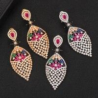 GODKI Jimbora Classic Earrings Charm Shiny Flowers Long Pendant Dangle Earrings jewelry for women bridal Wedding Accessories