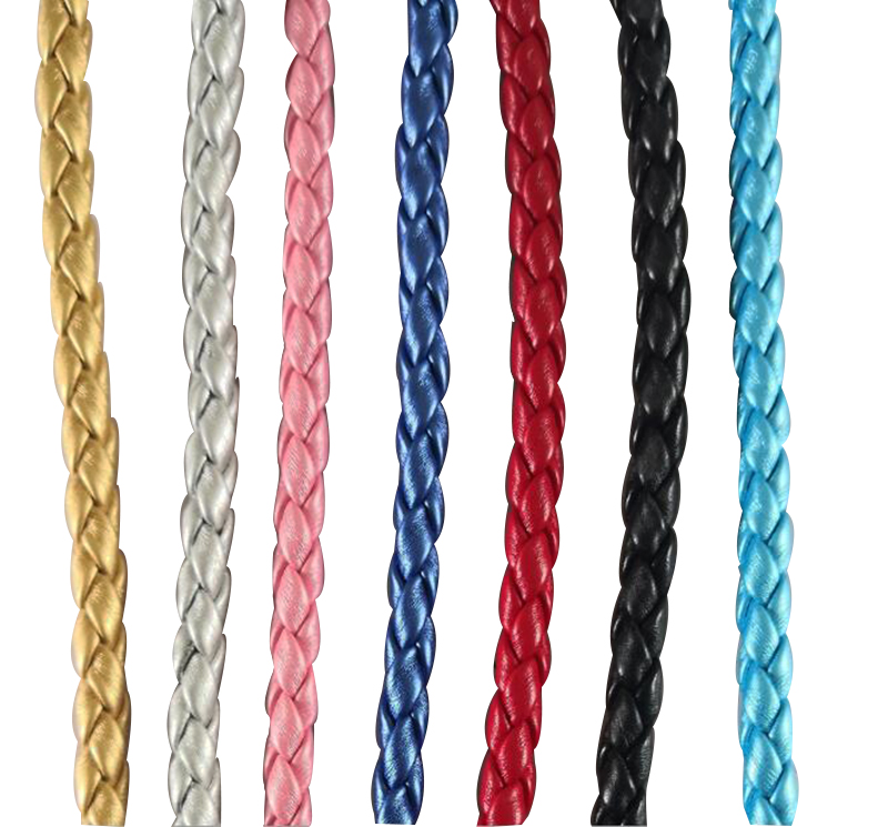 5mm Braided  PU Leather Cord Crafts Jewellery Making Light BLUE with Gold 1Meter