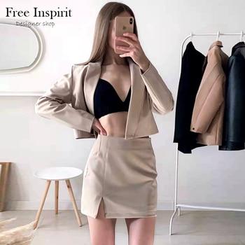 Spring New Women's Solid Short Suit Coat Solid Lapel Concealed Button Design Slim Split Mini Skirt Solid Color Suit 1