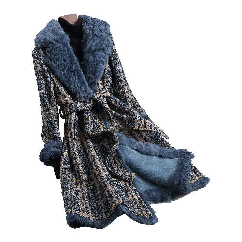 2019 Winter Women Real Fur Coat Long Tweed Wool Blends Jacket Female Slim Lace Up Natural Fur Coats Manteau Femme Invierno K382