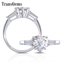 Transgems 10 k 화이트 골드 2ct 하트 모양 f 색상 바게트 moissanite 약혼 반지 여성을위한