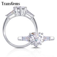 Transgems 10K White Gold 2ct Heart Shape F Color with Baguette Moissanite Engagement Ring for Women