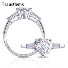 Transgems 10K białe złoto 2ct kształt serca F kolor z bagietką Moissanite pierścionek zaręczynowy dla kobiet