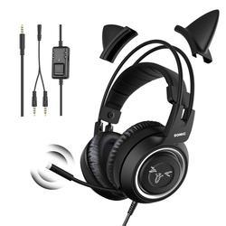 Проводная Гарнитура SOMIC, игровая черная гарнитура с кошачьими ушками, гарнитура для PS4, телефона, ПК с микрофоном, игровой телефон 3,5 мм, Накла...