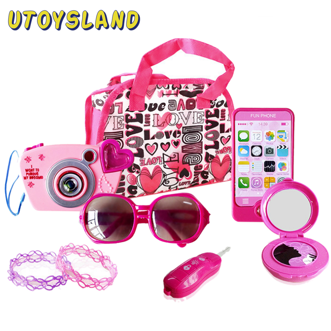 Kids Pretend Play Camera Ornament Kit Little <font><b>Girls</b></font> Camera Jewelry Decoration <font><b>Toy</b></font> Set Simulation <font><b>House</b></font> <font><b>Toy</b></font> Role Play Beauty Set image