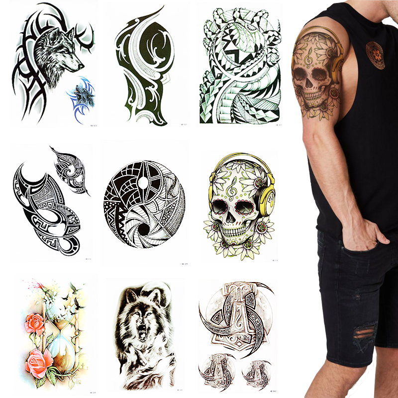 Temporary Tribal Totem Tattoos For Men Guys Waterproof Extra Big Tattoo Sticker For Women Body Art Makeup Fake Tattoos