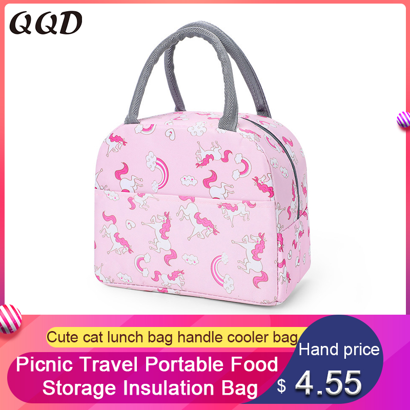 QQD cute cat lunch bags handle insulation cooler bag picnic travel portable food storage breakfast student thermal bag unicorn